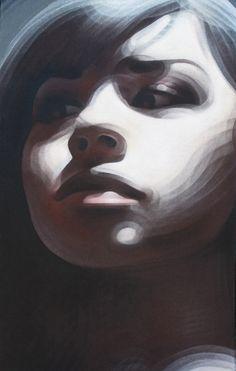 "Street art   Spraypaint on burlap ""Leonor"" (2009) by El Mac"