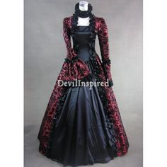 Red Victorian Gothic Ball Gown Dresses