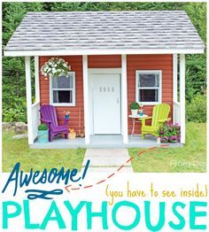 The interior of this playhouse is super cute! The building is made from scraps leftover from when their house was built.