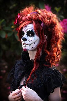 Red Head with Day of the Dead makeup