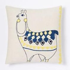 Embroidered Llama Cushion Cover West elm