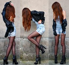 I love shorts with tights and I REALY want some just like this. Love the polka dots!