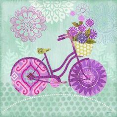 Sunday Bicycle Turq by Jennifer Brinley Vintage Prints, Vintage Posters, Kanvas Art, Botanical Illustration, Illustration Art, Bicycle Pictures, Foto Transfer, Power Colors, Purple Art