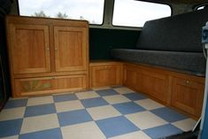 Campervan interior by ATT Bespoke Bus Furniture www. Bus Interior, Campervan Interior, Campervan Ideas, Bus Camper, Vw Bus, Campers, Van Dwelling, Vw Vintage, Custom Vans