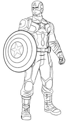 Captain America Drawing, Captain America Coloring Pages, Avengers Coloring Pages, Superhero Coloring Pages, Marvel Coloring, Cute Coloring Pages, Coloring Books, Colouring, Avengers Drawings