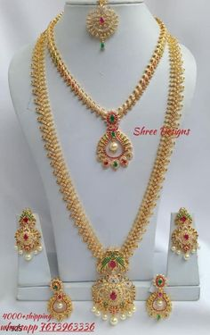 Whatsapp 7673963336 to buy. Gold Bridal Jewellery Sets, Real Gold Jewelry, Indian Wedding Jewelry, Gold Jewellery Design, Wedding Jewelry Sets, Gold Buttalu, Bracelet Display, Gold Models, Gold Earrings Designs