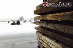 Oud Frans eiken balken op voorraad bij Frank Pouwer, reclaimed wood