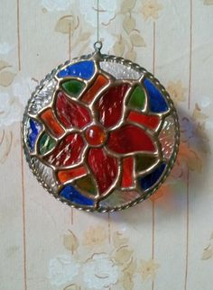Stained Glass Pendant. Dark Red Flower Stained Glass by DizArtEx