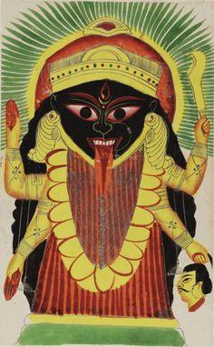 Kali, Kalighat painting, 19th C