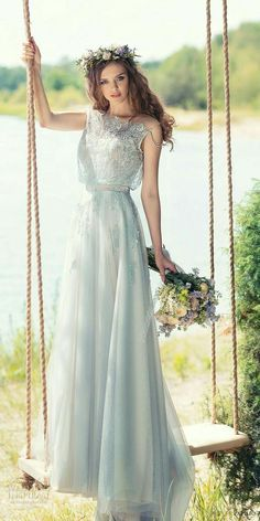 """Papilio 2017 Wedding Dresses — """"Wings of Love"""" Bridal Collection papilio 2017 bridal sleeveless jewel neck heavily embellished bodice blouson romantic modified a line wedding dress covered lace back chapel train (tomtit) mv Wedding Dress Trends, Colored Wedding Dresses, Boho Wedding Dress, Bridal Dresses, Wedding Gowns, Bridesmaid Dresses, Prom Dresses, 2017 Wedding, 2017 Bridal"""