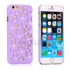 Daisy Pattern Pearl Decoration Hollow Out Design Ultra-Thin PC Back Case for iPhone 6 6S - Purple