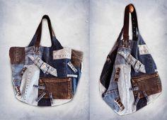 Large jeans patchwork shoulder bag recycled denim-