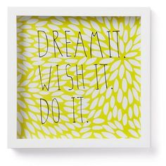 """Umbra Motto """"Dream It"""" 12-in Yellow Framed Wall Decor"""