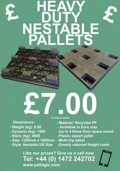 We are down to our last few nestable pallets, call now to get our discounted price Tel: +44 (0) 1472 242-702