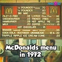 McDonald's price menu in 1972