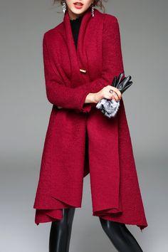 A Line Open Front Knit Coat