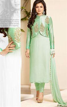 Charismatic Cream and Green Desiner Salwar Suit