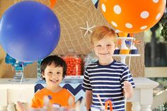 Blue and orange little boys party  from @happywishcompany #pnapproved