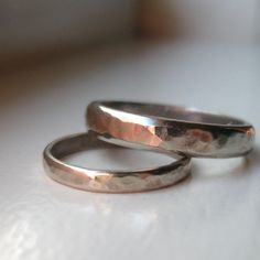 Wedding Band Set of White Gold - Mens Wedding Ring - recycled metal. $800.00, via Etsy.
