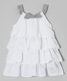 Take a look at this White & Black Stripe Tiered Dress - Infant, Toddler & Girls on zulily today!
