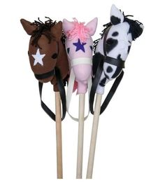 Amish Stick Horse The Amish Stick Horse has lots of giddyap and let's go! Enjoy this classic that's crafted by hand with solid wood. Choice of brown, pink or white head. #woodtoys