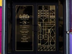 Big congrats to Wells Coffee on their new space in Ft. This is some of the window signage made for the new shop. Design Shop, Pub Design, Coffee Shop Design, Signage Design, Branding Design, Entrance Signage, Window Signage, Window Stickers, Window Decals