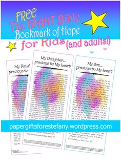 The Giant Bible Bookmark of Hope for kids (and adults) featuring a compilation of encouraging Bible verses on a watercolour background. But you will need to be quick! This one is available only for a short time.  #free #freeprintable #bookmark #bible #biblebookmark #printables #bibleverse #scripture #sundayschool #homeschool #sponsoredchild #kids #bible #papergifts #forkids #faith