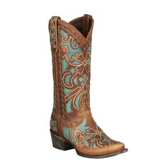 These Robin cowboy boots are crafted out of high quality leather with a turquoise pattern delicately crafted along the boot. Feel comfortable all day and look great with the snip toe.