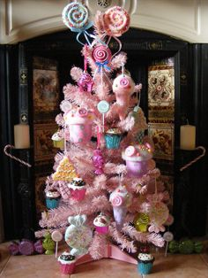 Candy Pink Christmas Tree with Cupcakes, Lollipops, Candies and Ice Creams!