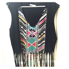 Urban Outfitters Top Urban Outfitters Top with Fringe & Southwest Design, Never Worn, super cute with shorts or skinny jeans! Black with southwestern design, 100% cotton, NWOT Urban Outfitters Tops Muscle Tees