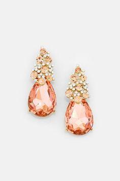 Crystal Jackie Earrings in Rose Champagne