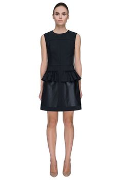 'Little Black Pocket Dress' Sleeveless Fitted Faux Leather Pocket Dress