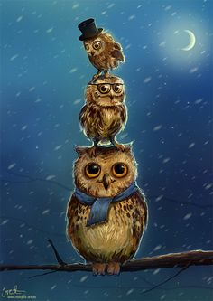 """""""Three cool-dudes"""" by Jeremiah Morelli (aka Jerry middle school teacher and hobby digital artist from Bavaria, Germany. Owl Art, Bird Art, Cross Stitch Owl, Gothic Fantasy Art, Barred Owl, Owl Pictures, Beautiful Owl, Owl Crafts, Funny Birds"""