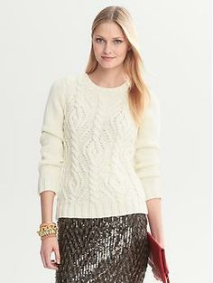 Heritage Chunky Cable Crew - Banana Republic - $98
