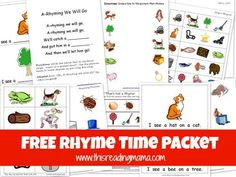 FREE Rhyme Time Packet. Lots of different rhyming activities