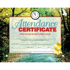 Attendance Certificate! 30/pack  Downloadable templates available to personalize or can be handwritten.