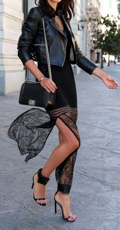 Lace maxi dress + moto jacket.