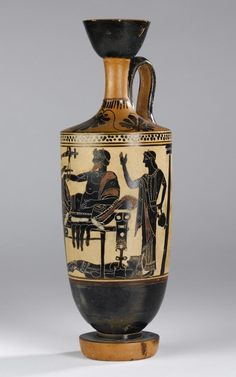Lekythos of pottery decorated in black figure style on a white ground with a scene representing Achilles delivering up the body of Hector to Priam: Ancient Mediterranean, Ancient Greek, Attic, by the Edinburgh Painter, 5th century BC, c. 500 BC © National Museums Scotland