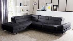 grand canapé d'angle cuir noir