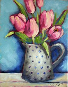 """tulips in a polka dot vase"", oil on canvas, 10 x 8 inches.  ©2012  Kristina Wentzell    100 Paintings for $100 or Less by Kristina Wentzell Fine Art"
