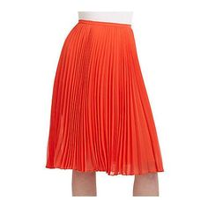 HALSTON HERITAGE KNEE-LENGTH PLEATED SKIRT/RED - CORAL