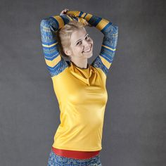 Long sleeve shirt Kayan - warm outdoor women's yellow blouse sportswear by SecondYouClothing on Etsy