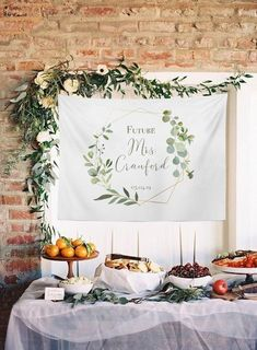 """P R I N T DETAILS MATERIAL: Microfiber Tapestry SIZES: Small (51x60), Medium (68x80), Large (88x104) Grommets not included: Can be hung with tape, clamps, 3M strips, tacks (super light weight and easy to use/hang) One Sided Print , Hemmed Edges, Bright Vivid Colors ♡ Processing Times ♡Lead Time: Approx. 7-10 Business DaysShipping: 4-7 Business Days P R E V I E W Click """"Personalize It"""" To see the font/colors available for your item. This is meant to help personalize your item. Once the item is ma Bridal Shower Backdrop, Simple Bridal Shower, Bridal Shower Tables, Bridal Shower Rustic, Bridal Showers, Bridal Shower Banners, Rustic Bridal Shower Decorations, Rustic Decor, Wedding Shower Signs"""