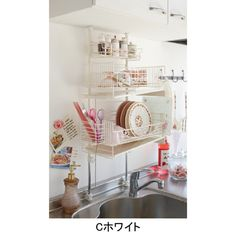 Tokyo's small apartment style. Using vertical space in the kitchen above the sink.
