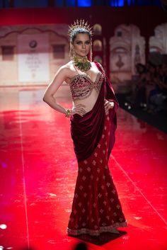 Sari by Suneet Verma at India Bridal Fashion Week 2014 Bridal Sari, Indian Bridal, India Fashion, Asian Fashion, High Fashion, Desi Wedding, India Wedding, Wedding Ideas, Modern Saree