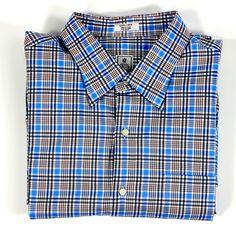 Peter Millar Windowpane Plaid Long Sleeve 100% Cotton Shirt Size XL EXTRA LARGE #PeterMillar