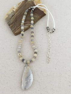 Lace Agate Pendant Necklace on Beaded Strand of Light Yellow Jade and Gray Botswana Agate Beads $45 USD Only 1 available  #laceagatenecklace #yellowandgray #softneckcord #pendantnecklace #stonenecklace