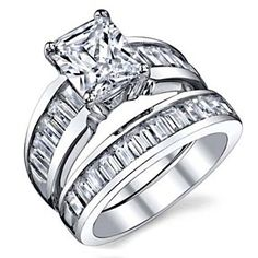 3.00 Ct Sterling Silver Radiant Cubic Zirconia Engagement Ring by JewelryHub on Opensky