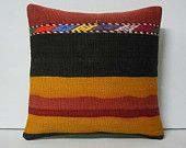 HAND WOVEN turkish pillow case gold seat cushion embroidered pillow red bohemian pillow black couch pillow cover striped kilim pillow 12206
