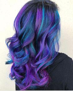 Blue and purple hair hair goals/how to get nice hair крашенн Galaxy Hair Color, Vivid Hair Color, Bright Hair Colors, Hair Color Purple, Hair Dye Colors, Cool Hair Color, Peacock Hair Color, Colourful Hair, Teal Hair